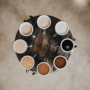 Coffee cups on a round table
